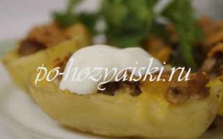 Как приготовить картофельные лодочки с начинкой из мяса и грибов