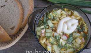 Окрошка на квасе с колбасой: классический рецепт