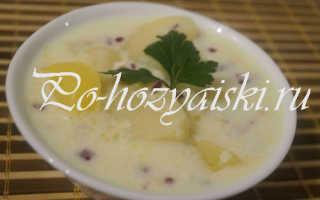 Картофель, тушеный в молоке с плавленным сыром
