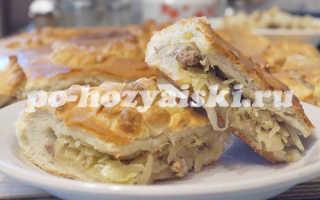 Дрожжевой пирог с капустой и фаршем