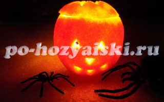 Светильник Джека из апельсина на Хэллоуин