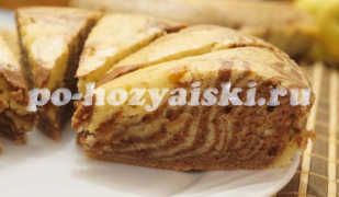Пирог «Зебра» на сметане, классический рецепт