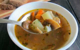 Постный грибной суп с чечевицей