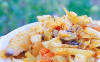 Картофель с грибами на сковороде, рецепт для мангала